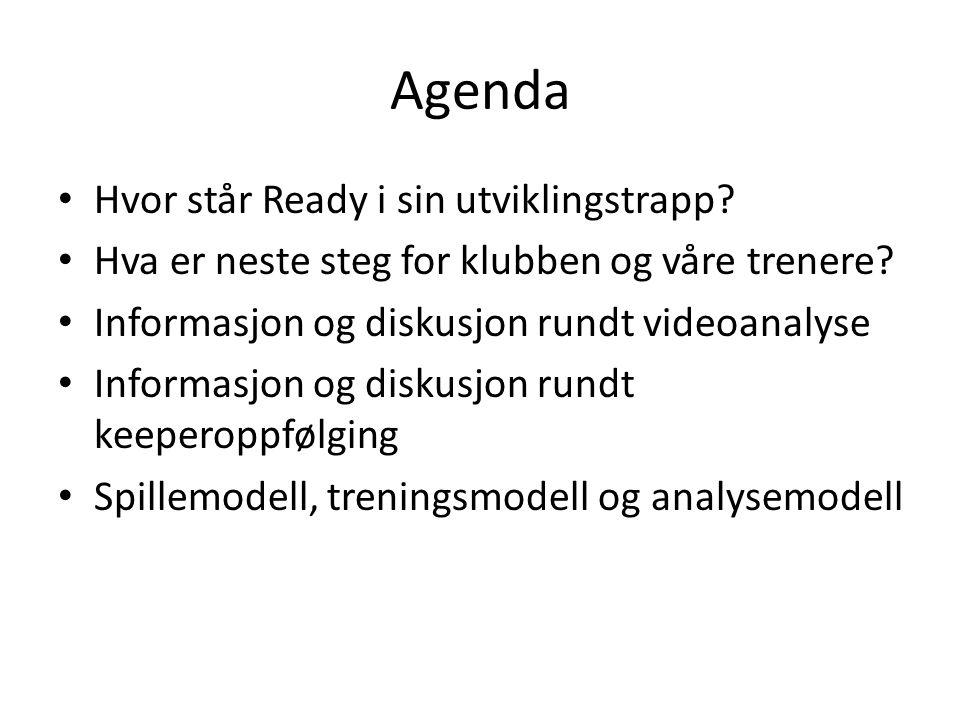 Agenda Hvor står Ready i sin utviklingstrapp? Hva er neste steg for klubben og våre trenere? Informasjon og diskusjon rundt videoanalyse Informasjon o
