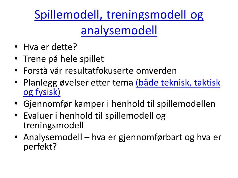 Spillemodell, treningsmodell og analysemodell Hva er dette? Trene på hele spillet Forstå vår resultatfokuserte omverden Planlegg øvelser etter tema (b