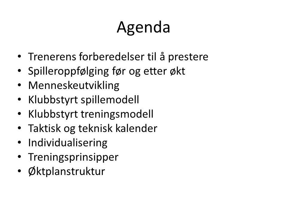 Agenda Trenerens forberedelser til å prestere Spilleroppfølging før og etter økt Menneskeutvikling Klubbstyrt spillemodell Klubbstyrt treningsmodell T