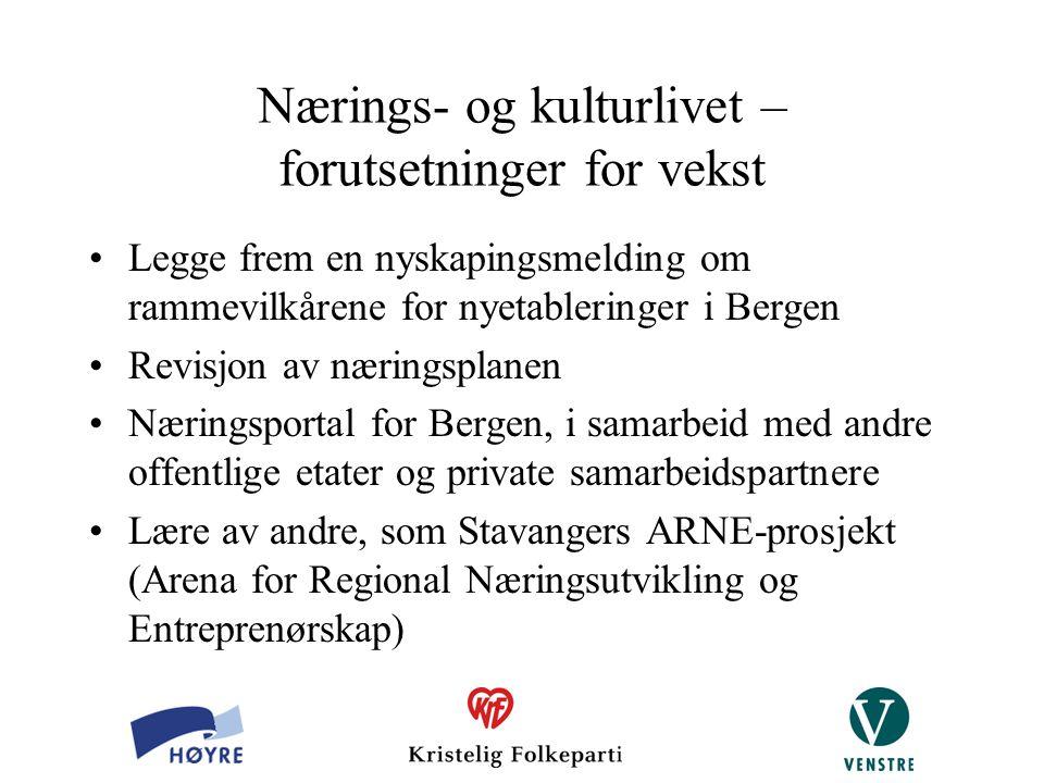 Nærings- og kulturlivet – forutsetninger for vekst Legge frem en nyskapingsmelding om rammevilkårene for nyetableringer i Bergen Revisjon av næringspl