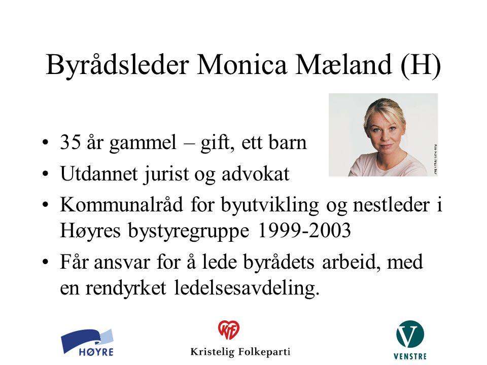 Byrådsleder Monica Mæland (H) 35 år gammel – gift, ett barn Utdannet jurist og advokat Kommunalråd for byutvikling og nestleder i Høyres bystyregruppe