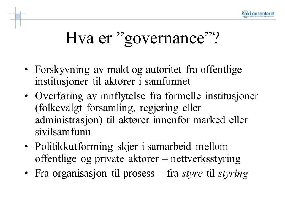 """Hva er """"governance""""? Forskyvning av makt og autoritet fra offentlige institusjoner til aktører i samfunnet Overføring av innflytelse fra formelle inst"""