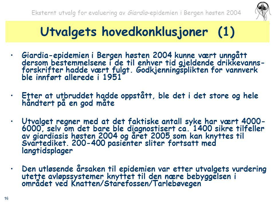 16 Eksternt utvalg for evaluering av Giardia-epidemien i Bergen høsten 2004 Utvalgets hovedkonklusjoner (1) Giardia-epidemien i Bergen høsten 2004 kun