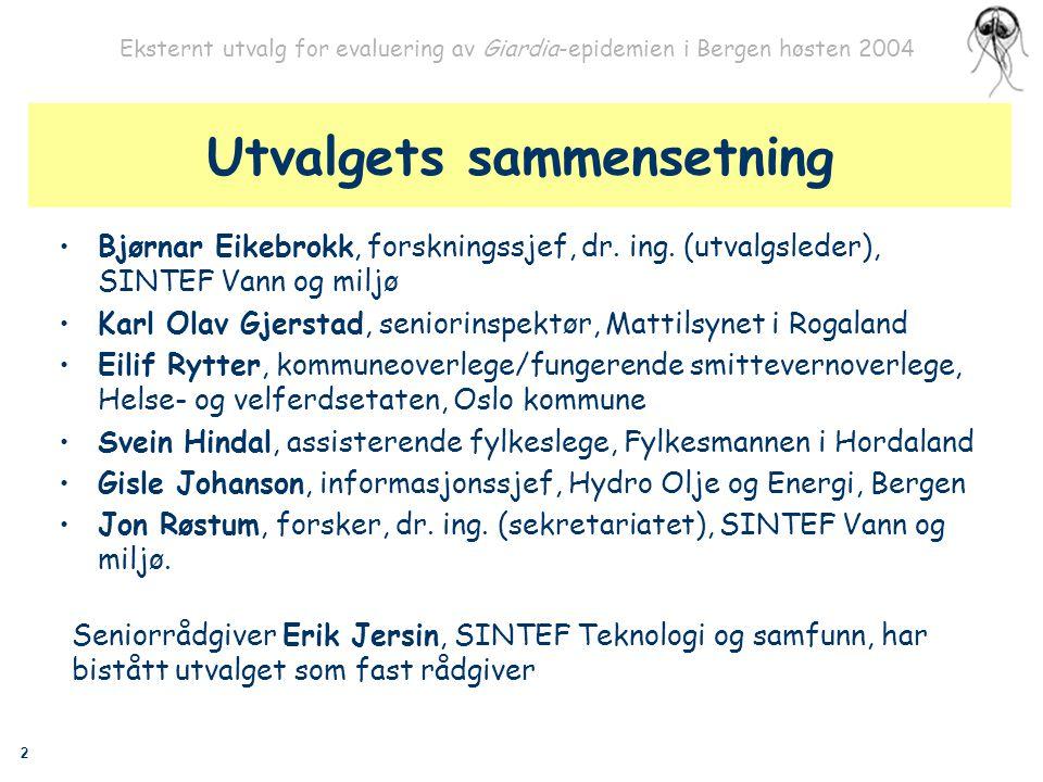 2 Eksternt utvalg for evaluering av Giardia-epidemien i Bergen høsten 2004 Utvalgets sammensetning Bjørnar Eikebrokk, forskningssjef, dr. ing. (utvalg
