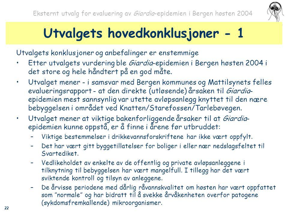 22 Eksternt utvalg for evaluering av Giardia-epidemien i Bergen høsten 2004 Utvalgets hovedkonklusjoner - 1 Utvalgets konklusjoner og anbefalinger er