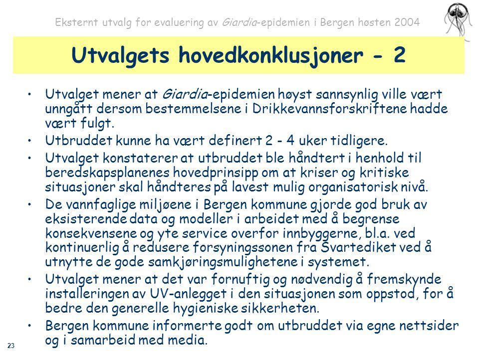 23 Eksternt utvalg for evaluering av Giardia-epidemien i Bergen høsten 2004 Utvalgets hovedkonklusjoner - 2 Utvalget mener at Giardia-epidemien høyst