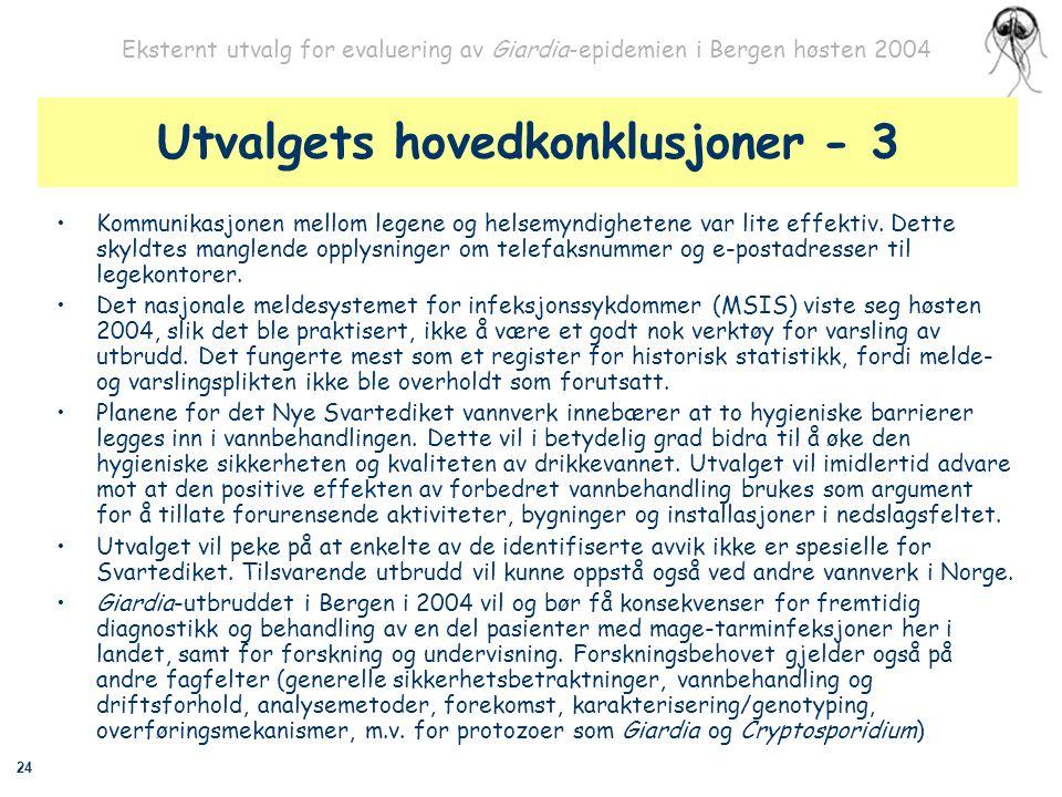 24 Eksternt utvalg for evaluering av Giardia-epidemien i Bergen høsten 2004 Utvalgets hovedkonklusjoner - 3 Kommunikasjonen mellom legene og helsemynd