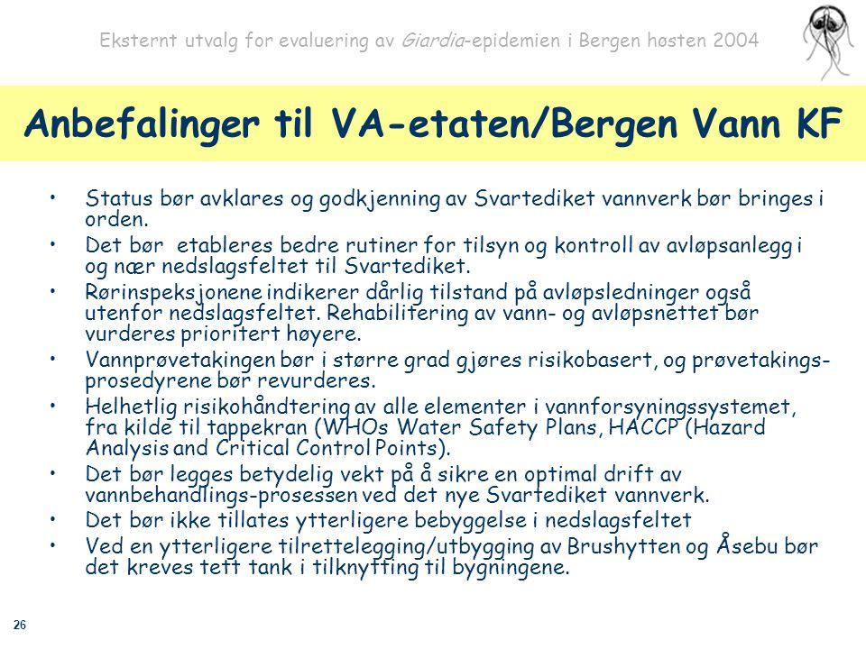 26 Eksternt utvalg for evaluering av Giardia-epidemien i Bergen høsten 2004 Anbefalinger til VA-etaten/Bergen Vann KF Status bør avklares og godkjenni