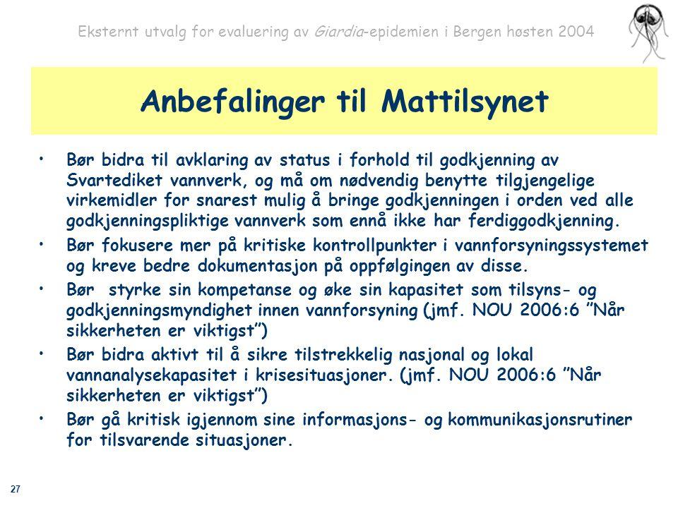 27 Eksternt utvalg for evaluering av Giardia-epidemien i Bergen høsten 2004 Anbefalinger til Mattilsynet Bør bidra til avklaring av status i forhold t