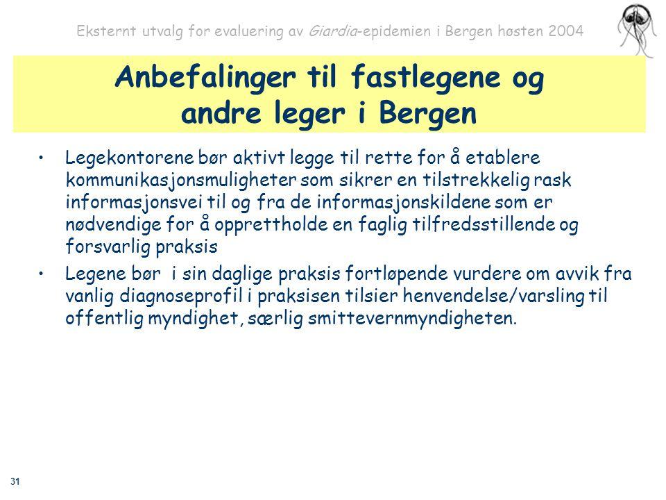 31 Eksternt utvalg for evaluering av Giardia-epidemien i Bergen høsten 2004 Anbefalinger til fastlegene og andre leger i Bergen Legekontorene bør akti