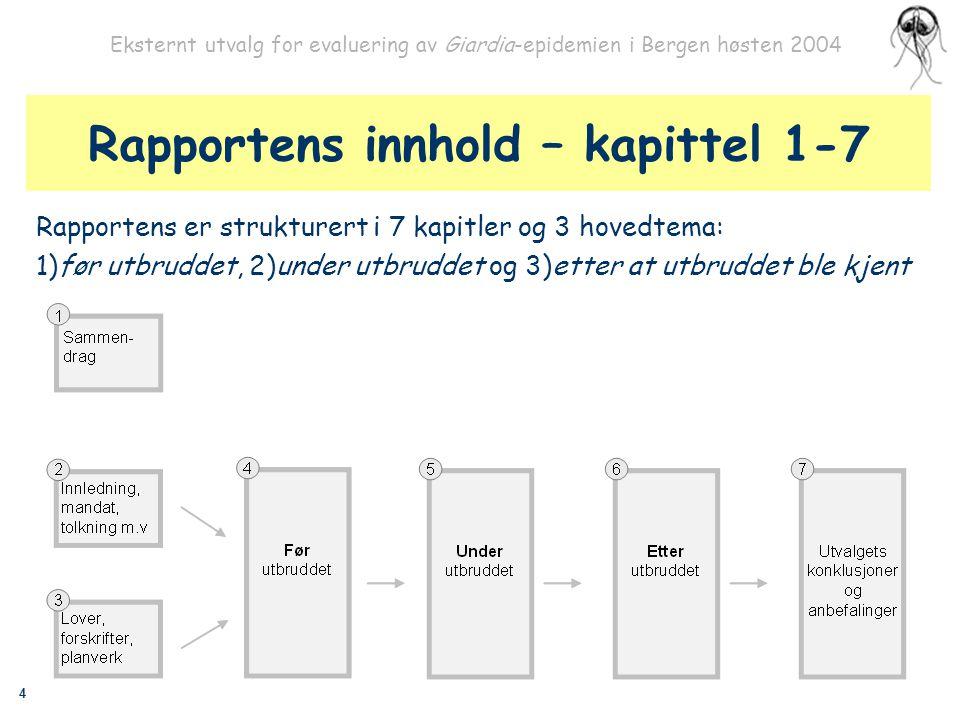 4 Eksternt utvalg for evaluering av Giardia-epidemien i Bergen høsten 2004 Rapportens innhold – kapittel 1-7 Rapportens er strukturert i 7 kapitler og