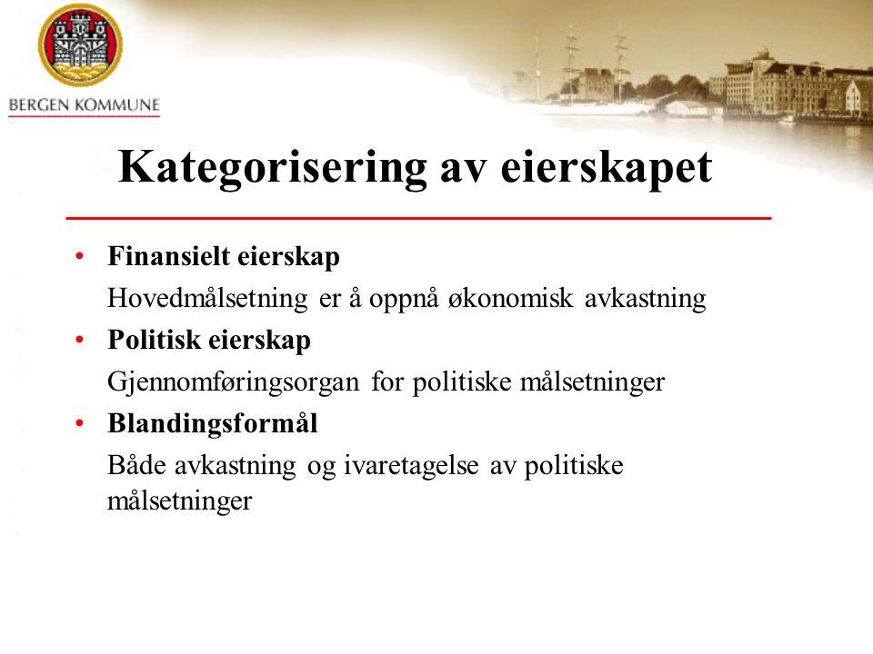 Kategorisering av eierskapet Finansielt eierskap Hovedmålsetning er å oppnå økonomisk avkastning Politisk eierskap Gjennomføringsorgan for politiske m