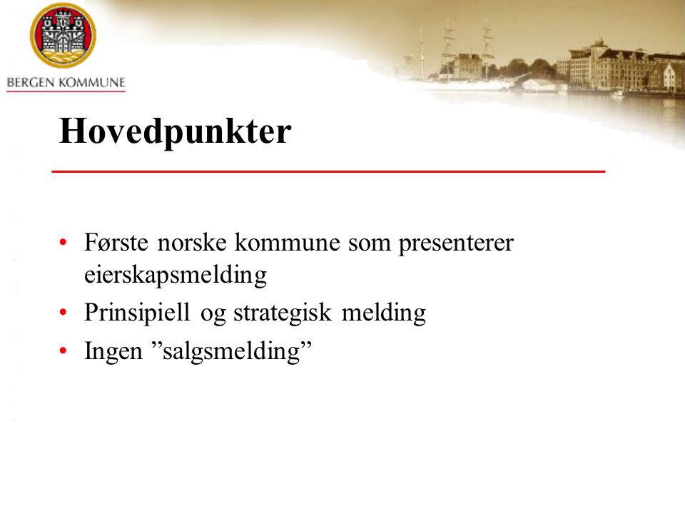 """Hovedpunkter Første norske kommune som presenterer eierskapsmelding Prinsipiell og strategisk melding Ingen """"salgsmelding"""""""