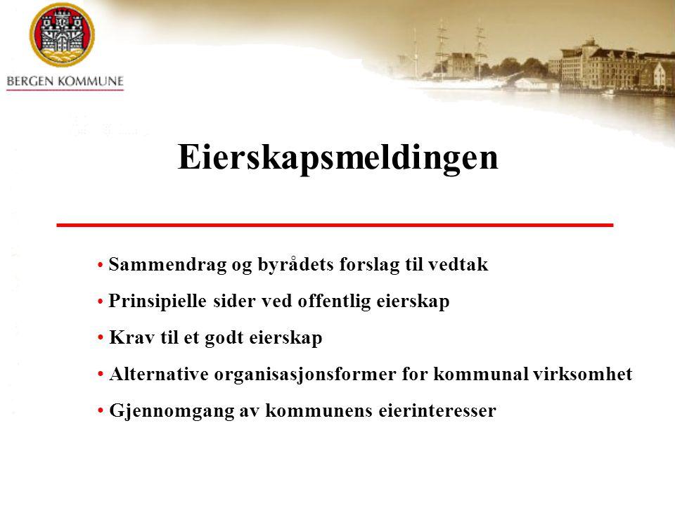 Sammendrag og byrådets forslag til vedtak Prinsipielle sider ved offentlig eierskap Krav til et godt eierskap Alternative organisasjonsformer for komm