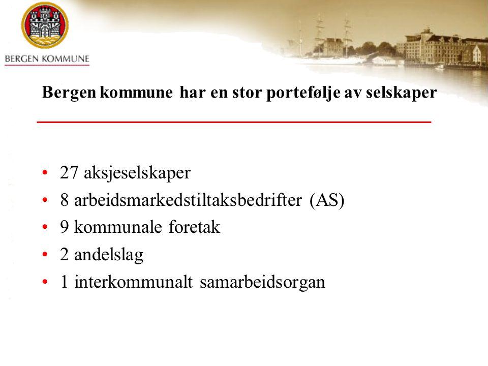Bergen kommune har en stor portefølje av selskaper 27 aksjeselskaper 8 arbeidsmarkedstiltaksbedrifter (AS) 9 kommunale foretak 2 andelslag 1 interkomm