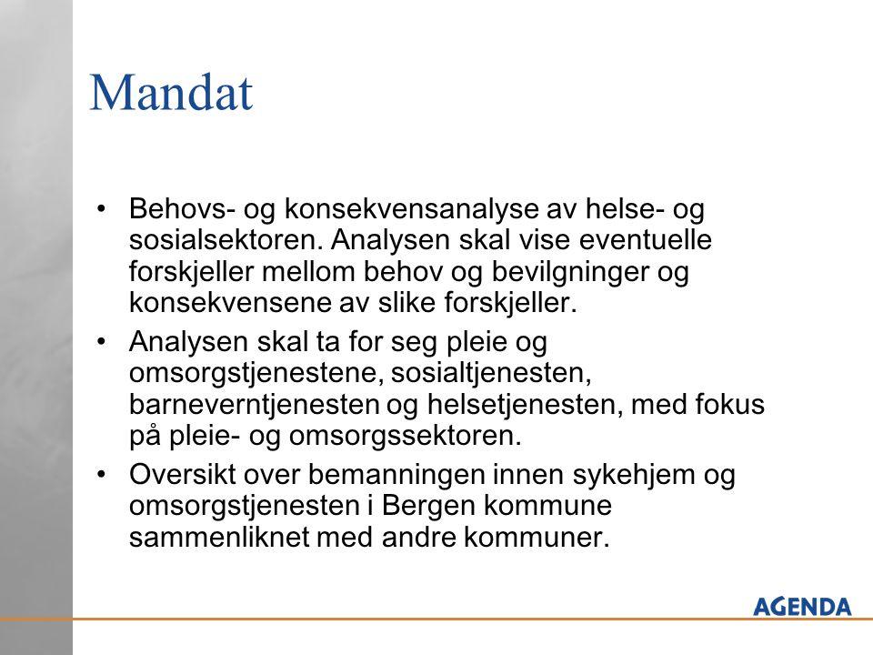 Del A: Sammenligning av KOSTRA – data på følgende områder: Forskjeller i prioriteringer mellom kommunene - ytelsesnivå i Bergen i forhold til de andre kommunene.