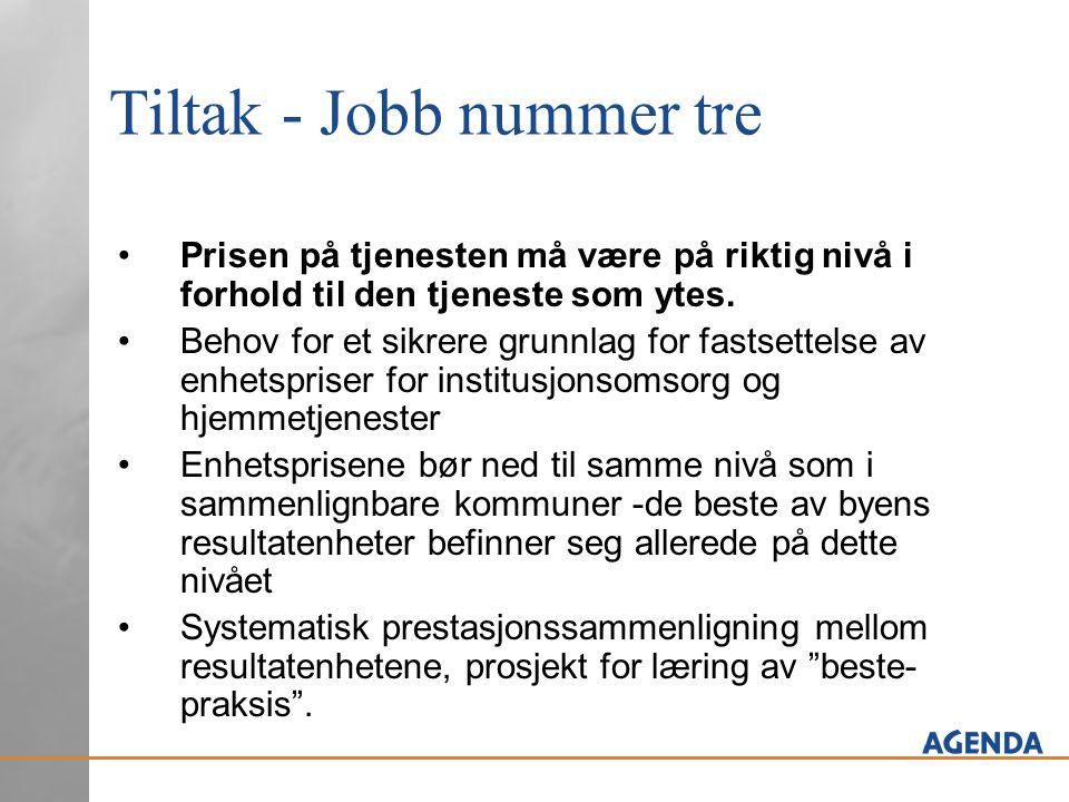 Tiltak - Jobb nummer tre Prisen på tjenesten må være på riktig nivå i forhold til den tjeneste som ytes. Behov for et sikrere grunnlag for fastsettels