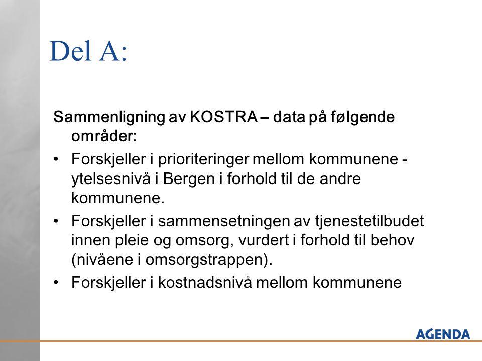 Del A: Sammenligning av KOSTRA – data på følgende områder: Forskjeller i prioriteringer mellom kommunene - ytelsesnivå i Bergen i forhold til de andre