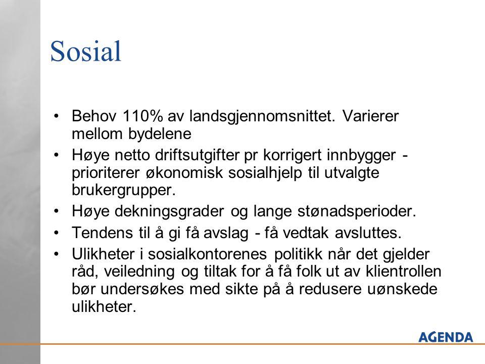 Barnevern Behov noe høyere enn gjennomsnittskommunen – 103% Høyere utgiftsnivå enn i de andre kommunene.