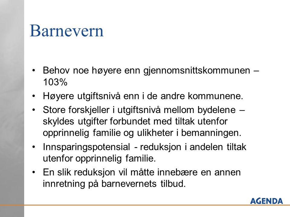 Barnevern Behov noe høyere enn gjennomsnittskommunen – 103% Høyere utgiftsnivå enn i de andre kommunene. Store forskjeller i utgiftsnivå mellom bydele