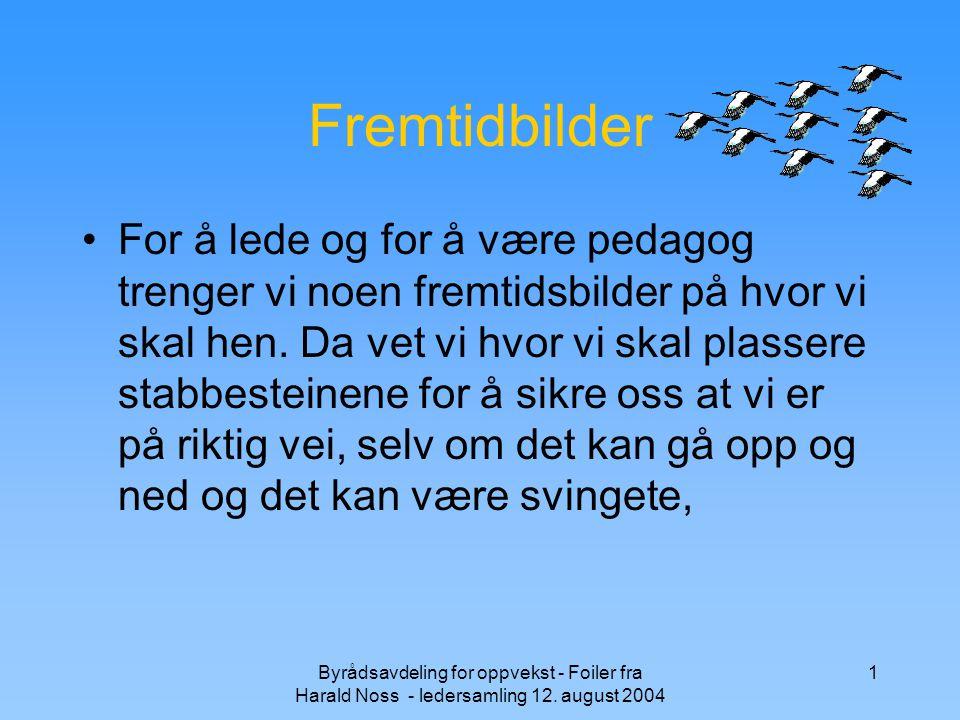 Byrådsavdeling for oppvekst - Foiler fra Harald Noss - ledersamling 12. august 2004 1 Fremtidbilder For å lede og for å være pedagog trenger vi noen f