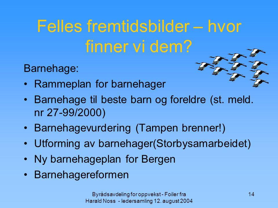 Byrådsavdeling for oppvekst - Foiler fra Harald Noss - ledersamling 12. august 2004 14 Felles fremtidsbilder – hvor finner vi dem? Barnehage: Rammepla