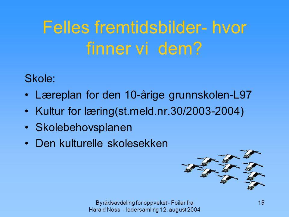 Byrådsavdeling for oppvekst - Foiler fra Harald Noss - ledersamling 12. august 2004 15 Felles fremtidsbilder- hvor finner vi dem? Skole: Læreplan for