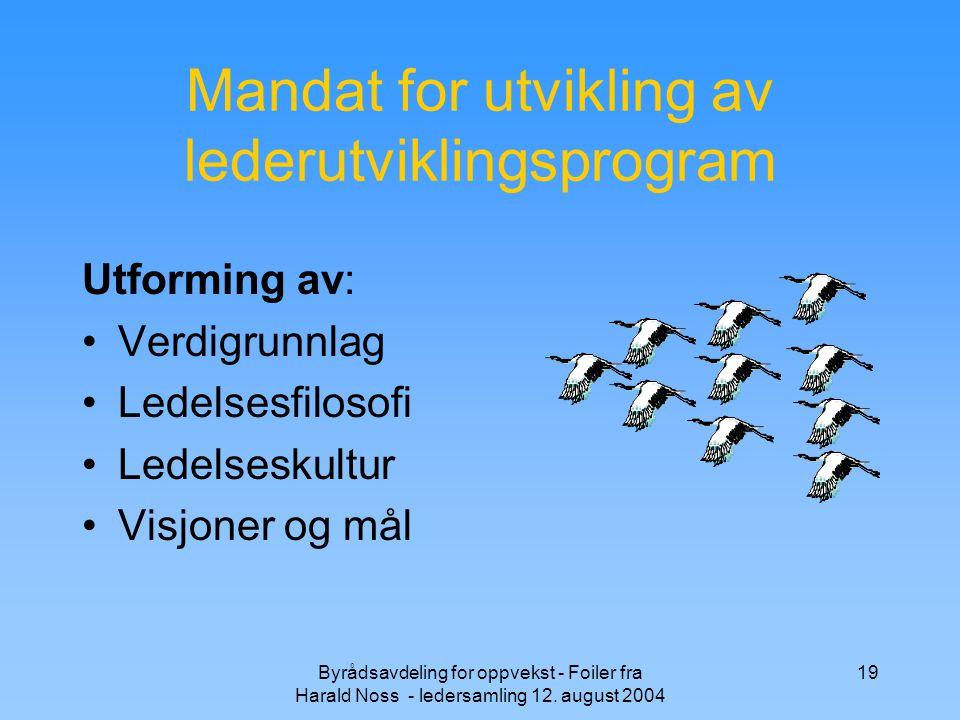 Byrådsavdeling for oppvekst - Foiler fra Harald Noss - ledersamling 12. august 2004 19 Mandat for utvikling av lederutviklingsprogram Utforming av: Ve