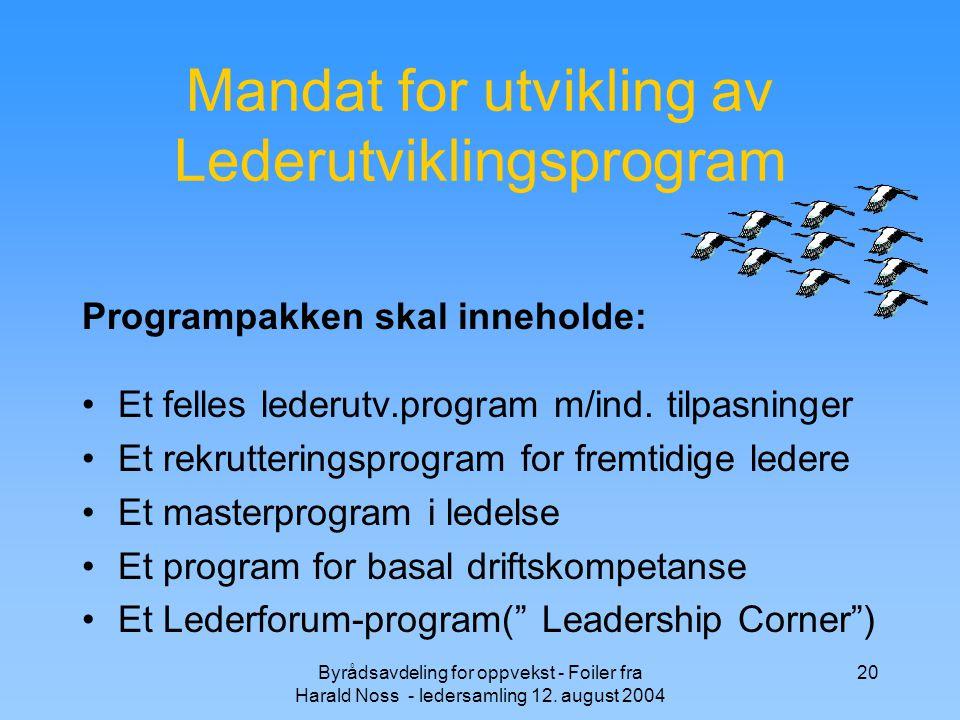 Byrådsavdeling for oppvekst - Foiler fra Harald Noss - ledersamling 12. august 2004 20 Mandat for utvikling av Lederutviklingsprogram Et felles lederu