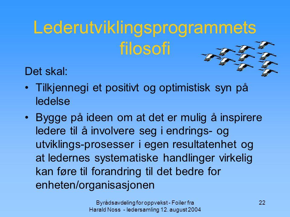 Byrådsavdeling for oppvekst - Foiler fra Harald Noss - ledersamling 12. august 2004 22 Lederutviklingsprogrammets filosofi Det skal: Tilkjennegi et po