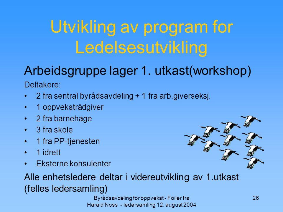 Byrådsavdeling for oppvekst - Foiler fra Harald Noss - ledersamling 12. august 2004 26 Utvikling av program for Ledelsesutvikling Arbeidsgruppe lager