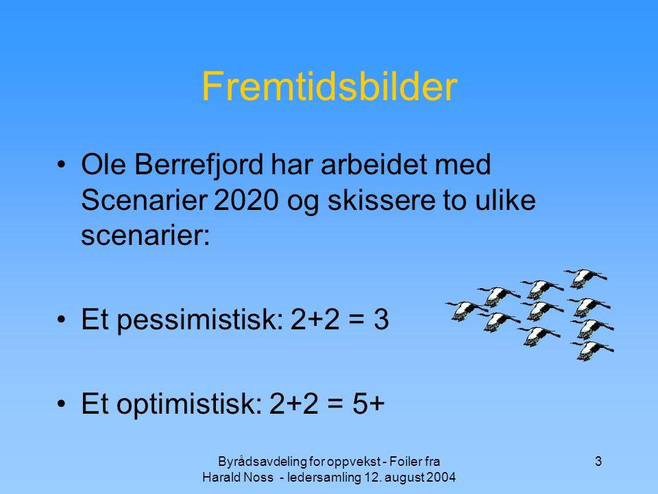 Byrådsavdeling for oppvekst - Foiler fra Harald Noss - ledersamling 12. august 2004 3 Fremtidsbilder Ole Berrefjord har arbeidet med Scenarier 2020 og
