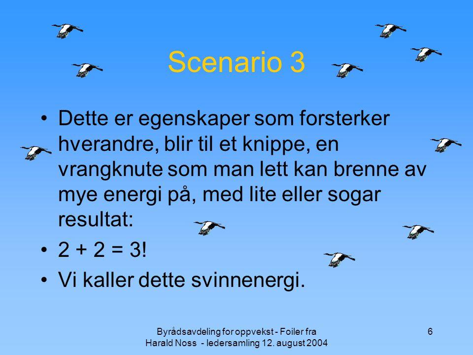 Byrådsavdeling for oppvekst - Foiler fra Harald Noss - ledersamling 12. august 2004 6 Scenario 3 Dette er egenskaper som forsterker hverandre, blir ti