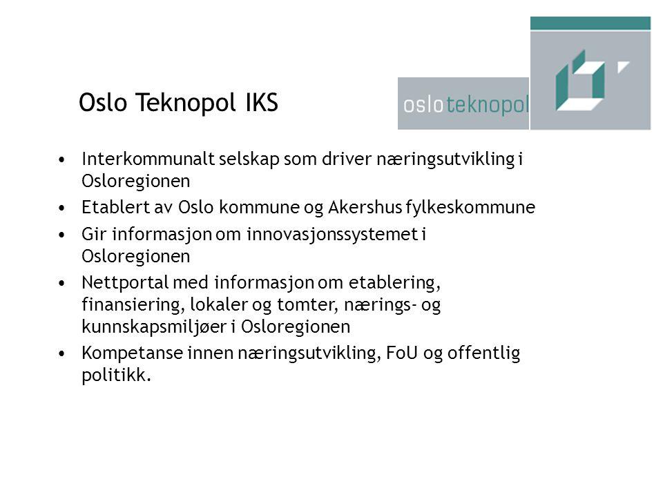 Interkommunalt selskap som driver næringsutvikling i Osloregionen Etablert av Oslo kommune og Akershus fylkeskommune Gir informasjon om innovasjonssys