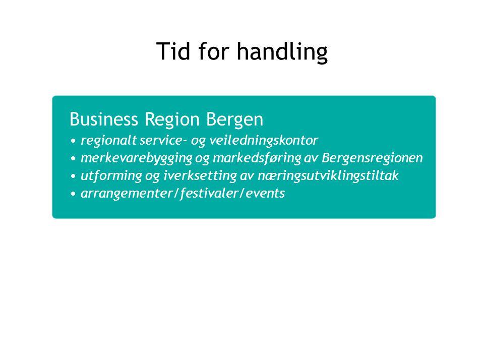 Business Region Bergen regionalt service- og veiledningskontor merkevarebygging og markedsføring av Bergensregionen utforming og iverksetting av nærin