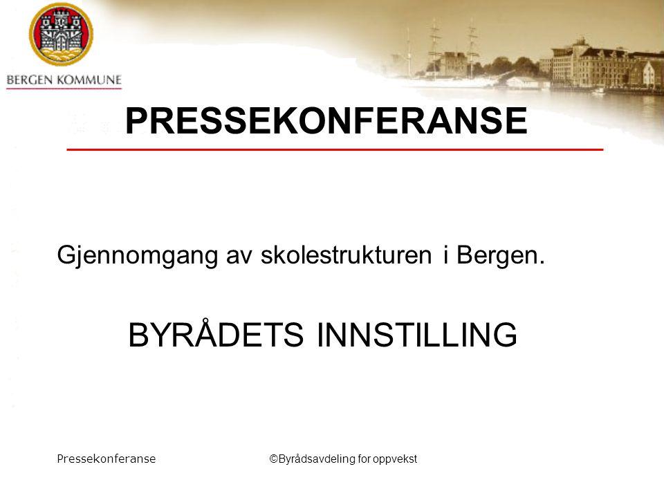 Pressekonferanse©Byrådsavdeling for oppvekst PRESSEKONFERANSE Gjennomgang av skolestrukturen i Bergen.