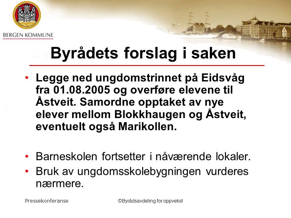 Pressekonferanse©Byrådsavdeling for oppvekst Byrådets forslag i saken Legge ned ungdomstrinnet på Eidsvåg fra 01.08.2005 og overføre elevene til Åstveit.