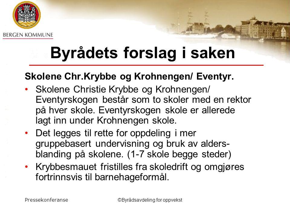 Pressekonferanse©Byrådsavdeling for oppvekst Byrådets forslag i saken Skolene Chr.Krybbe og Krohnengen/ Eventyr.