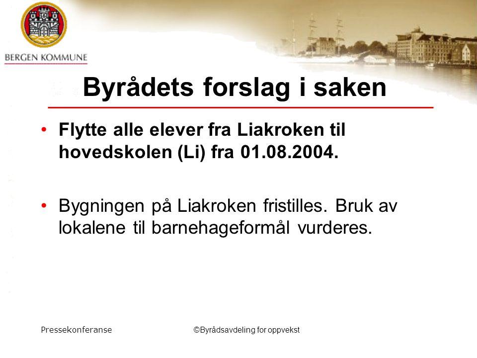 Pressekonferanse©Byrådsavdeling for oppvekst Byrådets forslag i saken Flytte alle elever fra Liakroken til hovedskolen (Li) fra 01.08.2004.