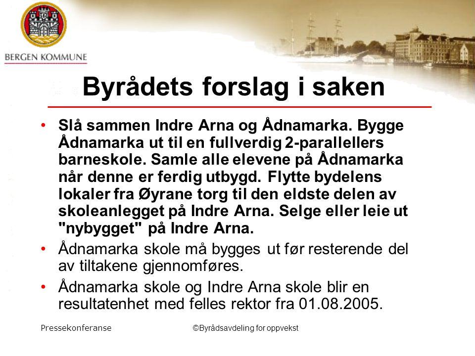 Pressekonferanse©Byrådsavdeling for oppvekst Byrådets forslag i saken Slå sammen Indre Arna og Ådnamarka.