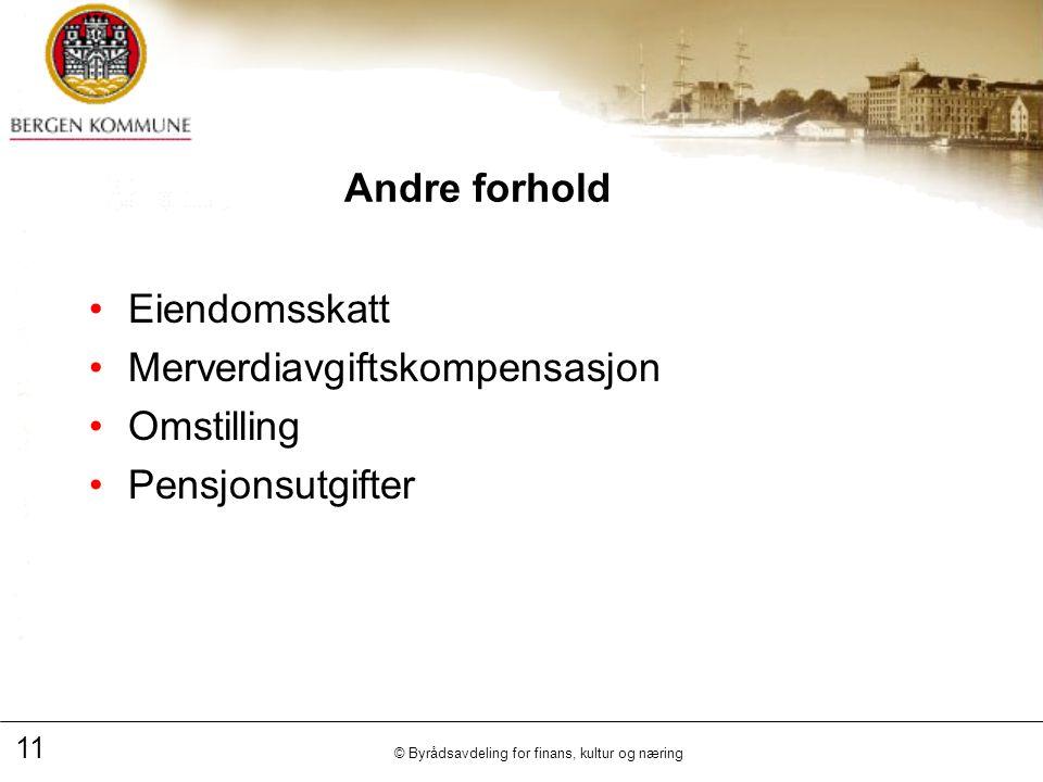 11 © Byrådsavdeling for finans, kultur og næring Andre forhold Eiendomsskatt Merverdiavgiftskompensasjon Omstilling Pensjonsutgifter