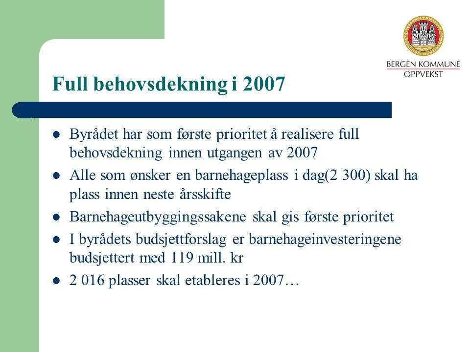 Full behovsdekning i 2007 Byrådet har som første prioritet å realisere full behovsdekning innen utgangen av 2007 Alle som ønsker en barnehageplass i d