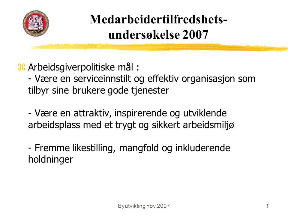 Byutvikling nov 20071 Medarbeidertilfredshets- undersøkelse 2007 zArbeidsgiverpolitiske mål : - Være en serviceinnstilt og effektiv organisasjon som t