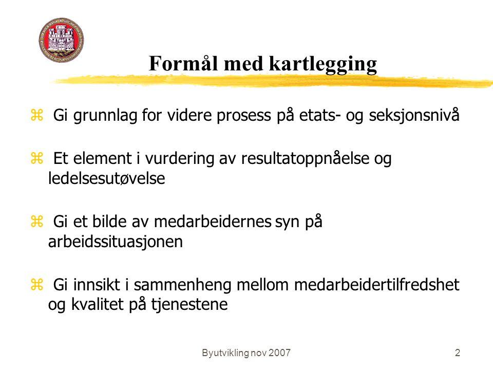 Byutvikling nov 20072 Formål med kartlegging z Gi grunnlag for videre prosess på etats- og seksjonsnivå z Et element i vurdering av resultatoppnåelse