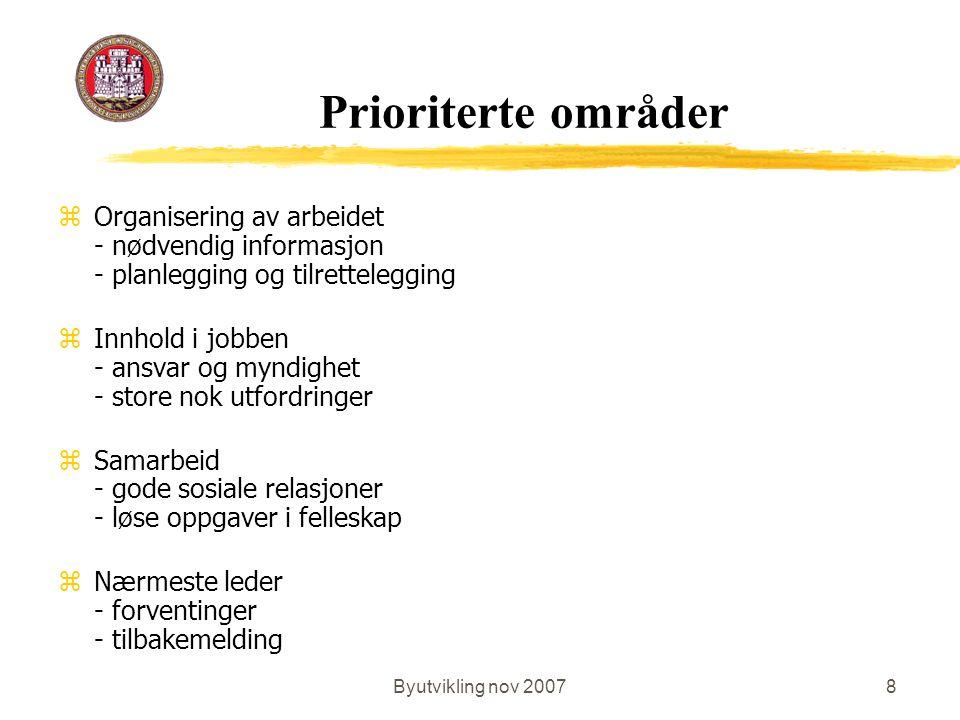 Byutvikling nov 20078 Prioriterte områder zOrganisering av arbeidet - nødvendig informasjon - planlegging og tilrettelegging zInnhold i jobben - ansvar og myndighet - store nok utfordringer zSamarbeid - gode sosiale relasjoner - løse oppgaver i felleskap zNærmeste leder - forventinger - tilbakemelding