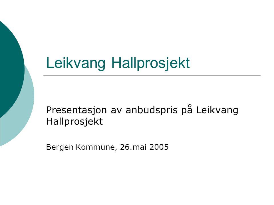 Leikvang Hallprosjekt Presentasjon av anbudspris på Leikvang Hallprosjekt Bergen Kommune, 26.mai 2005