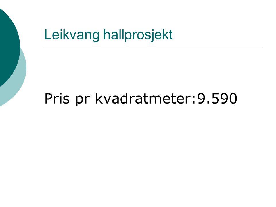 Leikvang hallprosjekt Pris pr kvadratmeter:9.590
