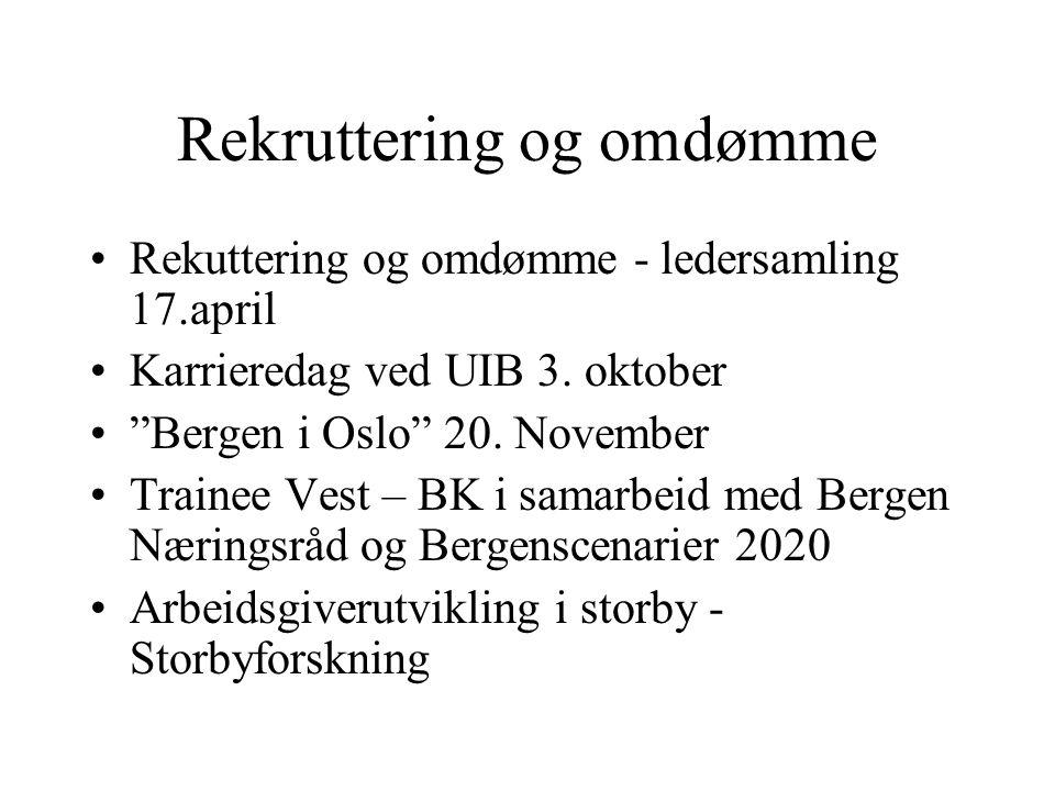 "Rekruttering og omdømme Rekuttering og omdømme - ledersamling 17.april Karrieredag ved UIB 3. oktober ""Bergen i Oslo"" 20. November Trainee Vest – BK i"