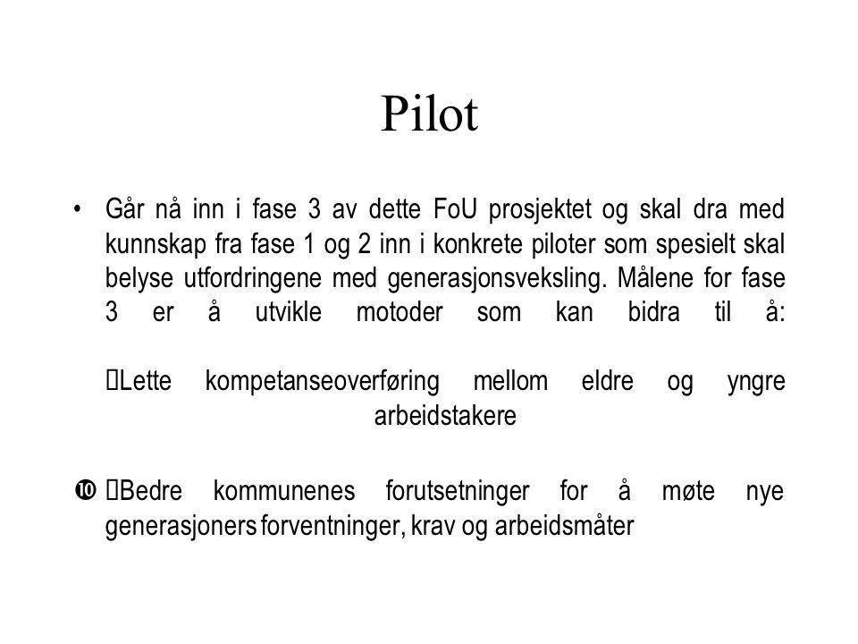 Pilot Går nå inn i fase 3 av dette FoU prosjektet og skal dra med kunnskap fra fase 1 og 2 inn i konkrete piloter som spesielt skal belyse utfordringe