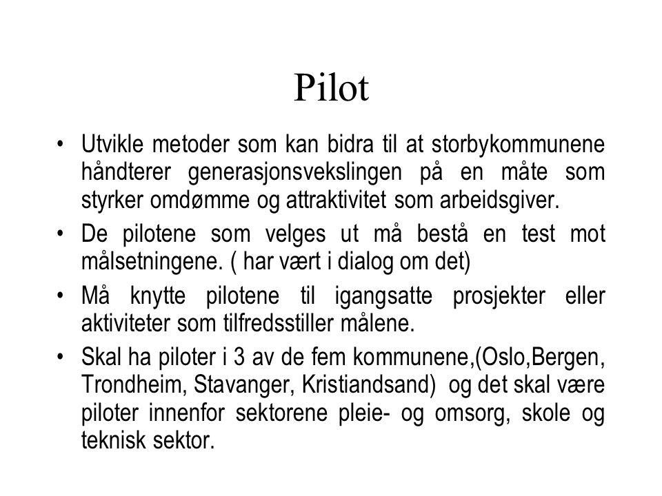 Pilot Byutvikling Videre arbeid: Utvikling av pilotprosjektet Oppstartsmøte 3 samlinger pr.